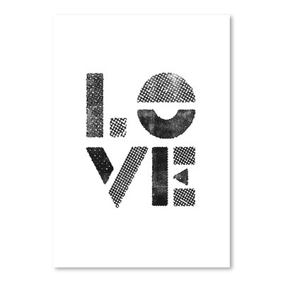 Americanflat Love Stamp Typography Wrapped on Canvas