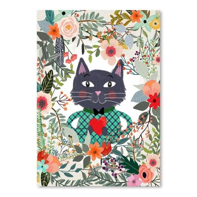 Americanflat Cat And Heart Graphic Art Wrapped on Canvas