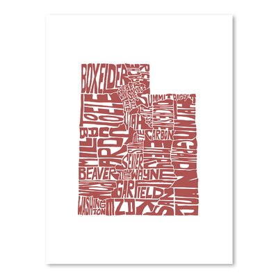 Americanflat Utah Typography Wrapped on Canvas