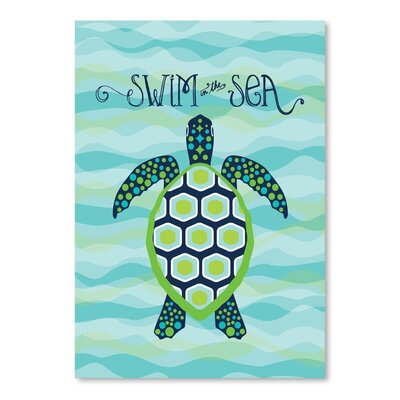 Americanflat Nautical SeaTurtle Graphic Art Wrapped on Canvas
