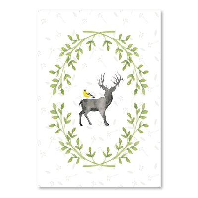 Americanflat Watercolor Deer and Bird Art Print Wrapped on Canvas
