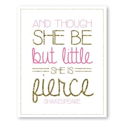 Americanflat Girl's Gold and Glitter Typography Wrapped on Canvas