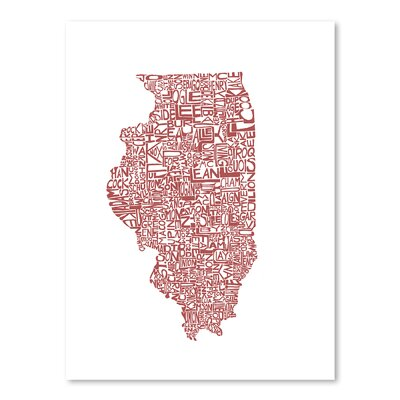 Americanflat Illinois Typography Wrapped on Canvas