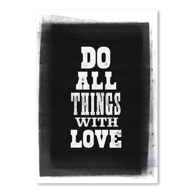 Americanflat Do All Things with Love Letterpress Typography Wrapped on Canvas