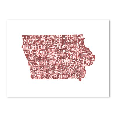 Americanflat Iowa Typography Wrapped on Canvas