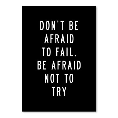 Americanflat Don't be Afraid To Fail Typography Wrapped on Canvas
