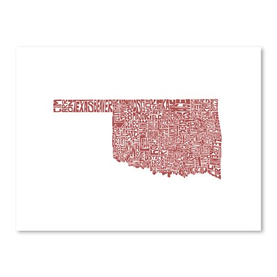 Americanflat Oklahoma Typography Wrapped on Canvas