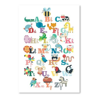 Americanflat Alphabet Animals Graphic Art Wrapped on Canvas
