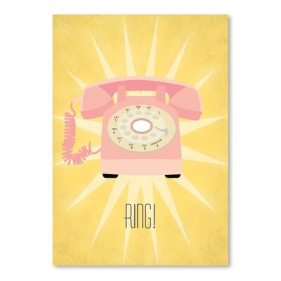 Americanflat Vintage Telephone Graphic Art Wrapped on Canvas