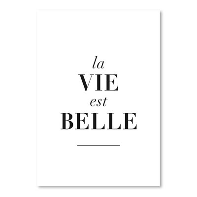 Americanflat La Belle est Vie Typography Wrapped on Canvas