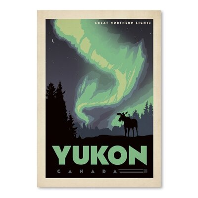 Americanflat WT Yukon Great North Lights Vintage Advertisement Wrapped on Canvas