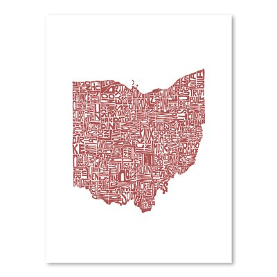 Americanflat Ohio Typography Wrapped on Canvas