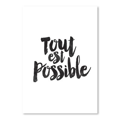 Americanflat Tout Est Possible Typography Wrapped on Canvas