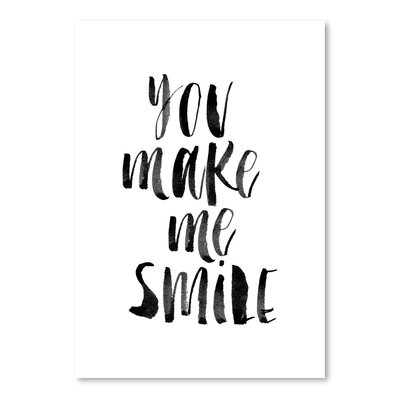 Americanflat You Make Me Smile Typography on Canvas