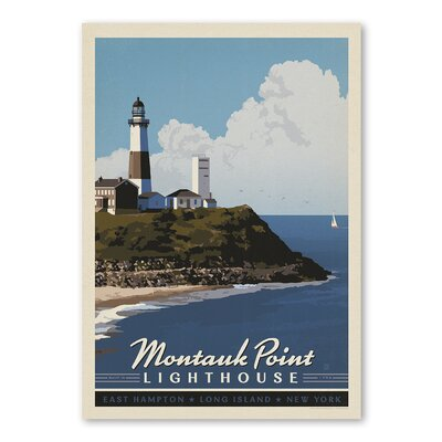 Americanflat Montauk Long Island Vintage Advertisement Wrapped on Canvas
