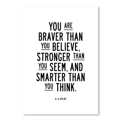 Americanflat You Are Braver Than You Believe Typography on Canvas