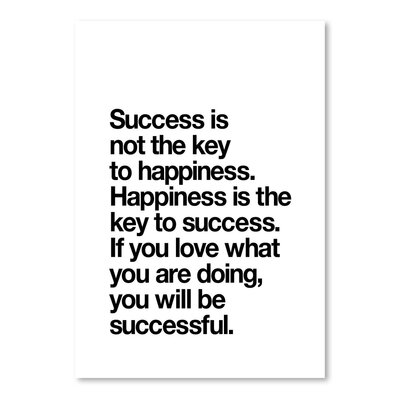 Americanflat Happiness is the Key to Success Typography Wrapped on Canvas