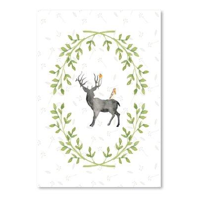 Americanflat Watercolor Deer and Bird 2 Graphic Art
