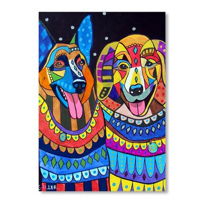 Americanflat Germand Shepard and Golden Retriever Art Print Wrapped on Canvas