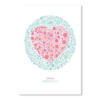 Americanflat Love Is Colorblind Graphic Art in Pink