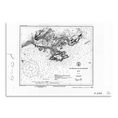 Americanflat Richmonds Island Harbor Map Graphic Art