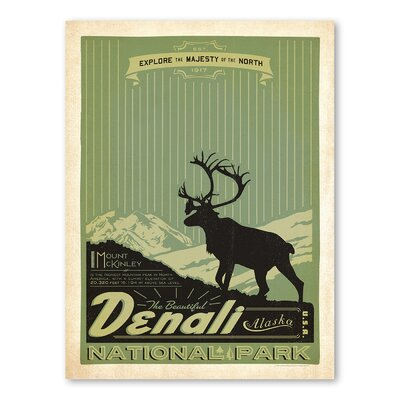 Americanflat Asa National Park Denali Vintage Advertisement Wrapped on Canvas