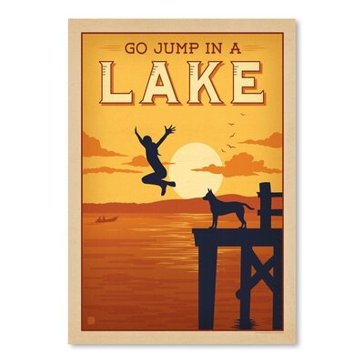 Americanflat Jump in a Lake Vintage Advertisement Wrapped on Canvas