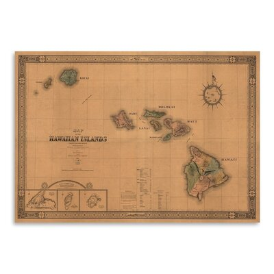 Americanflat Hawaiian Islands Map Graphic Art