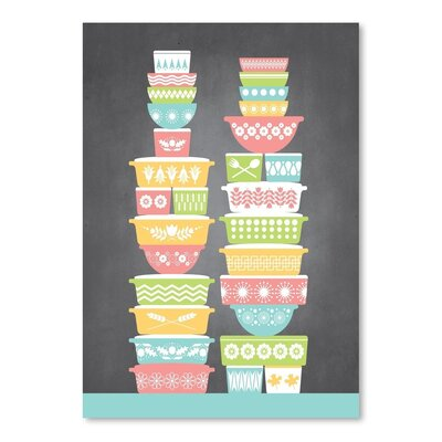 Americanflat Kitchen Bar Vintage Bowls1 Graphic Art Wrapped on Canvas