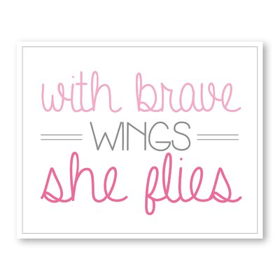 Americanflat Girl's Brave Wings Typography