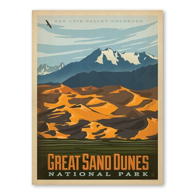 Americanflat Asa National Park Greatsanddunes Vintage Advertisement Wrapped on Canvas