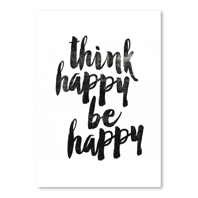 Americanflat Think Happy Be Happy Typography on Canvas
