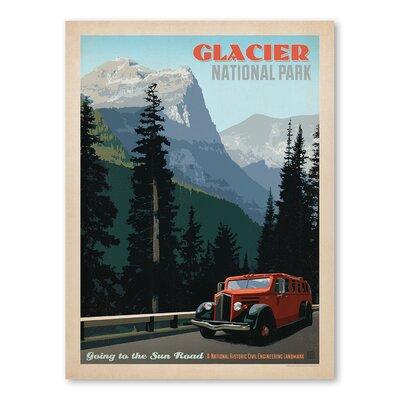 Americanflat Asa National Park Glacier 1002 Vintage Advertisement Wrapped on Canvas