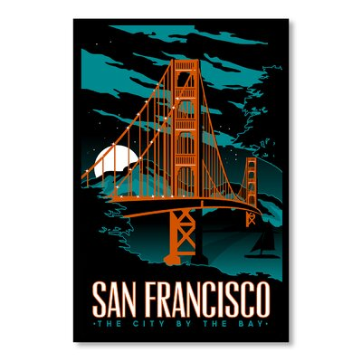 Americanflat San Francisco Night Vintage Advertisement on Canvas