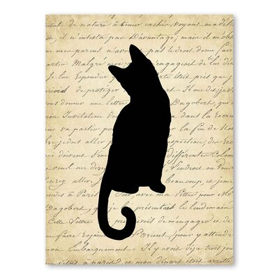 Americanflat Dictionary Cat Graphic Art Wrapped on Canvas