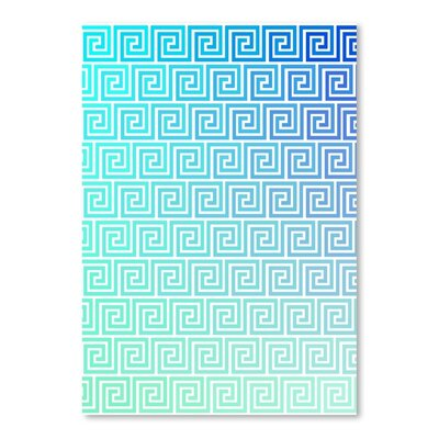 Americanflat Greek Key Ombre Graphic Art Wrapped on Canvas