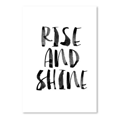 Americanflat Rise and Shine Typography Wrapped on Canvas in White