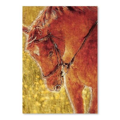 Americanflat Field Horse Art Print Wrapped on Canvas
