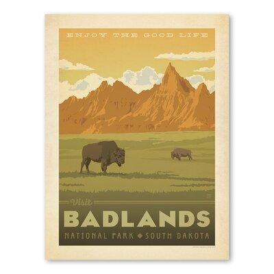 Americanflat Asa National Park Badlands Vintage Advertisement Wrapped on Canvas