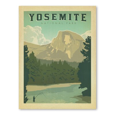 Americanflat Asa National Park Yosemite Vintage Advertisement Wrapped on Canvas
