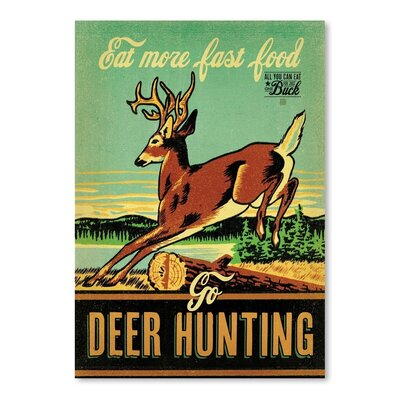 Americanflat Fast Food Deer Hunting Vintage Advertisement Wrapped on Canvas