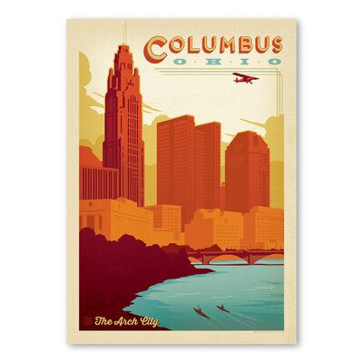 Americanflat Columbus Ohio Vintage Advertisement Wrapped on Canvas
