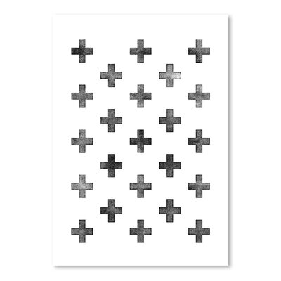 Americanflat Swiss Cross Pattern Graphic Art Wrapped on Canvas