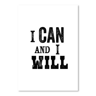 Americanflat I Can and I Will Typography Wrapped on Canvas