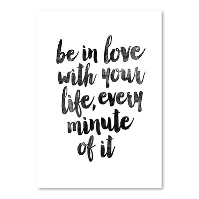 Americanflat Be In Love With Your Life Typography Wrapped on Canvas