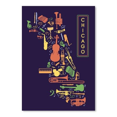 Americanflat Chicago Jazz Graphic Art Wrapped on Canvas