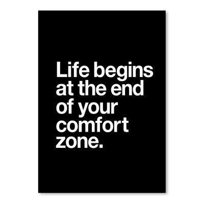 Americanflat Life Begins at the End of Your Comfort Zone Typography Wrapped on Canvas