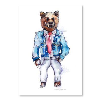 Americanflat Mac the Bear Art Print Wrapped on Canvas