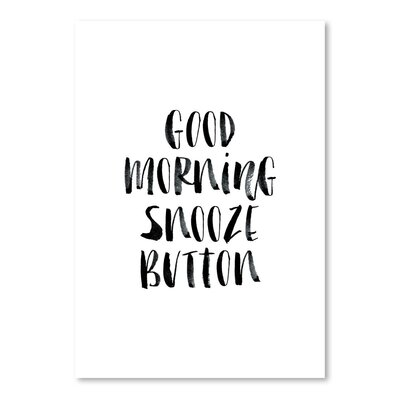 Americanflat Good Morning Snooze Button Typography on Canvas