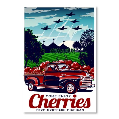 Americanflat Come Enjoy Cherries Vintage Advertisement Wrapped on Canvas